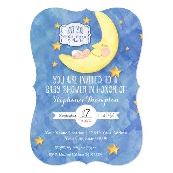 Love You To The Moon N Back Watercolor Baby Shower Invitation