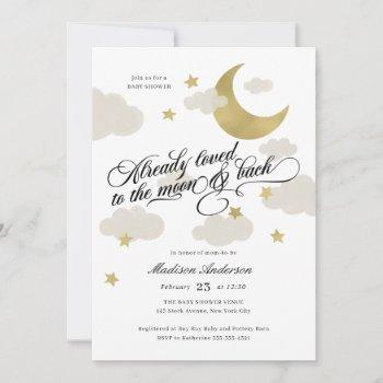 Loved To The Moon And Back Baby Shower Gold Stars