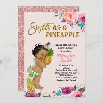 Luau Party Rose Gold Pineapples Baby Shower Card