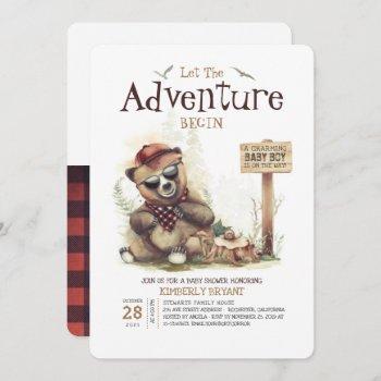Lumberjack Baby Shower Woodland Little Bear Cub Invitation