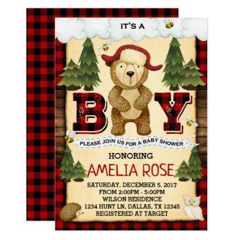 Lumberjack Bear Baby Shower Invitation Invite