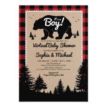 Lumberjack Bear Long Distance Virtual Baby Shower Invitation