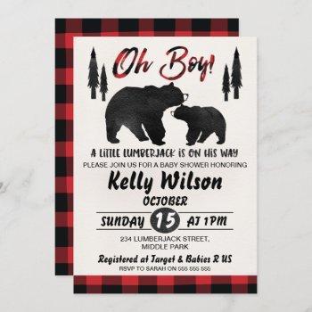 Lumberjack Bears Baby Shower Invitation