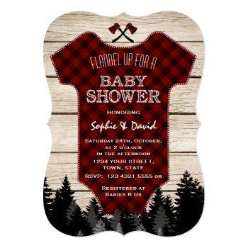 Lumberjack Buffalo Baby Suit Wood Baby Shower Invitation