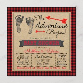 Lumberjack Buffalo Plaid Boys Boho Baby Shower Invitation