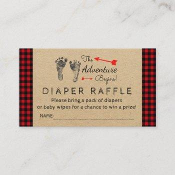 Lumberjack Buffalo Plaid Boys Diaper Raffle Ticket Enclosure Card