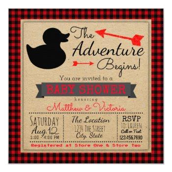 Lumberjack Buffalo Plaid Boys Duck Baby Shower Invitation