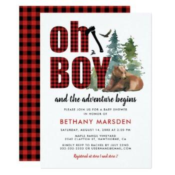 Lumberjack Flannel Bear Boy Baby Shower Invitation