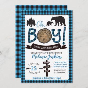 Lumberjack Flannel Boy Baby Shower Invitation Bear