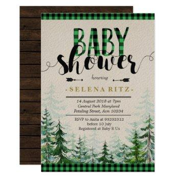 Lumberjack Green Plaid Boy Baby Shower Invitation