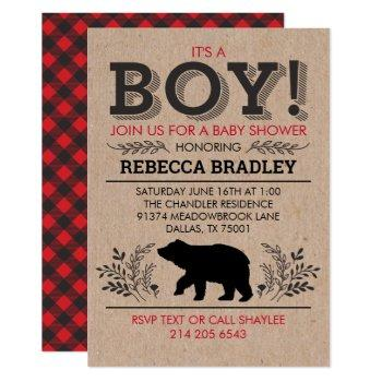 Lumberjack Kraft Baby Shower Invitation