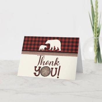 Lumberjack Mama Bear Baby Shower Thank You Cards