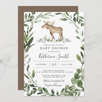 Lumberjack Moose Baby Shower Invitation