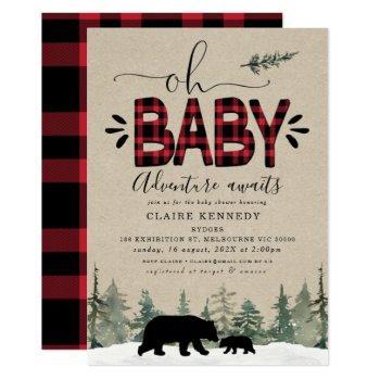 Lumberjack Oh Baby Flannel Baby Shower Invitation