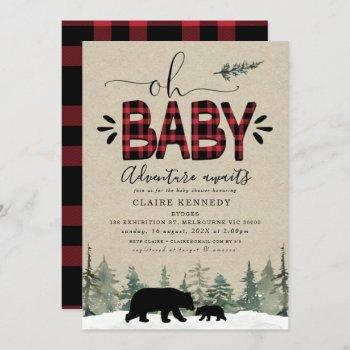 Lumberjack Oh Baby Flannel Baby Shower Invitation