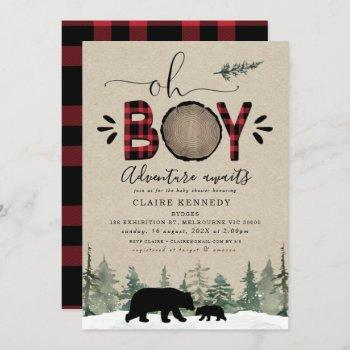 Lumberjack Oh Boy Flannel Baby Shower Invitation