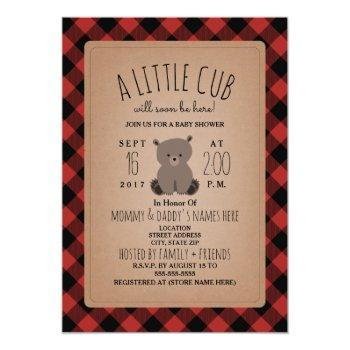 Lumberjack Plaid Bear Cub Baby Shower Invitation