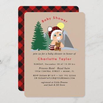 Lumberjack Red Black Plaid Cute Baby Shower Invitation
