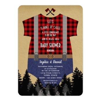 Lumberjack Red Buffalo Baby Suit Baby Shower Invitation