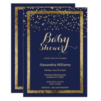 Lush Elegant Navy Blue Gold Confetti Baby Shower Invitation