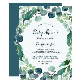Lush Greenery And Eucalyptus Baby Shower Invitation