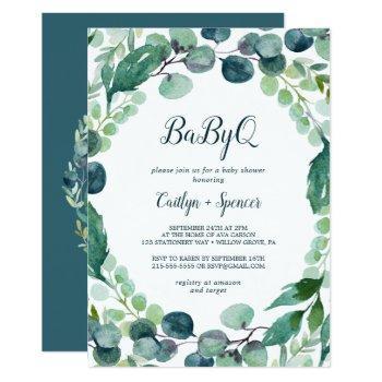 Lush Greenery And Eucalyptus Babyq Invitation