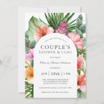 Lush Tropical Floral Couple's Shower And Luau Invitation