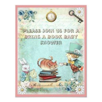 Mad Hatter Bring A Book Baby Shower For Girls Invitation