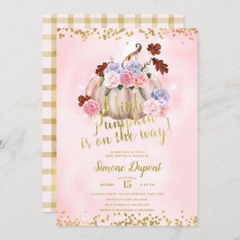 Magical Floral Little Pumpkin Girl Baby Shower Invitation