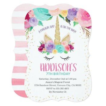 Magical Unicorn Birthday Baby Shower Invitations