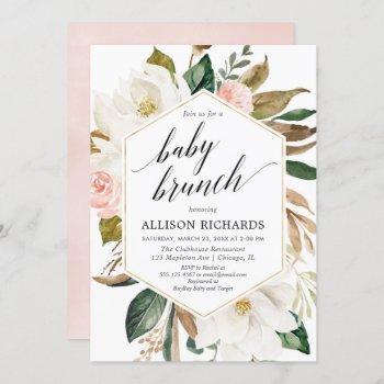 Magnolia Floral Blush Gold Girl Baby Brunch Shower Invitation