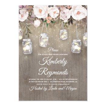 Mason Jar Lights Floral Rustic Baby Shower Invitation