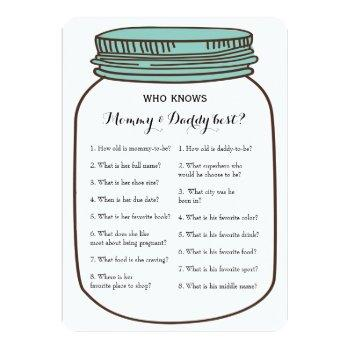 Mason Jars 2x Baby Shower Game- Advice | Who Knows Invitation