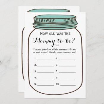 Mason Jars 2x Baby Shower Games- How Old   Advice Invitation
