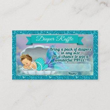 Mermaid Baby Shower Diaper Raffle Tickets #130 Enclosure Card