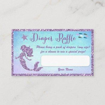 Mermaid Baby Shower Diaper Raffle Tickets Enclosure Card