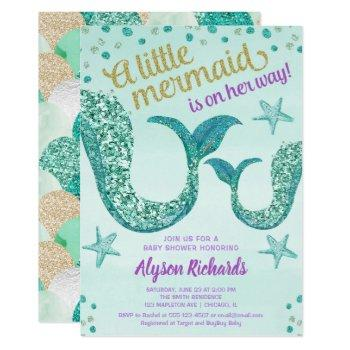 Mermaid Baby Shower Girl, Teal Gold Glitter Tail Invitation