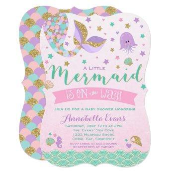 Mermaid Baby Shower Invitation Pink Purple Teal