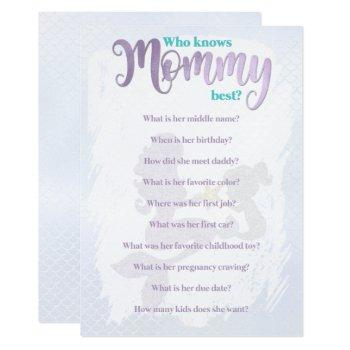 Mermaid Baby Shower Who Knows Mom Best Cards