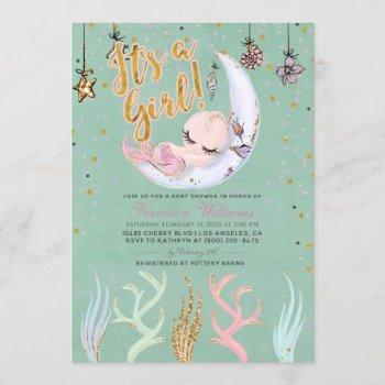 Mermaid It's A Girl Baby Shower Invitation