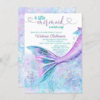 Mermaid Tail Baby Girl Baby Shower Invitation