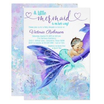 Mermaid Tail Baby Shower Brunette Mermaid Invitation