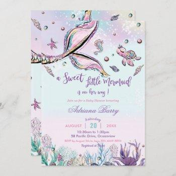 Mermaid Tail Baby Shower Under The Sea Baby Girl Invitation