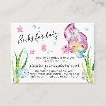 Mermaid Watercolor Baby Shower Books For Baby Enclosure Card