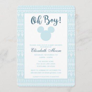 Mickey | Blue Aztec Baby Shower Invitation