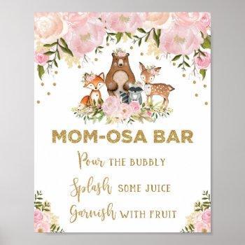 Mimosa Mom-osa Bar Sign Girl Woodland Baby Shower