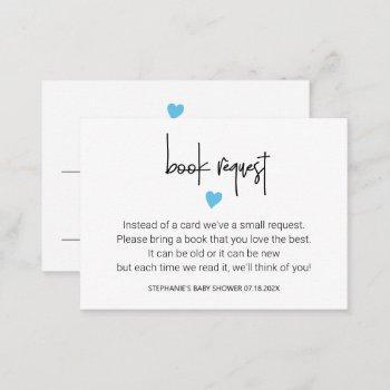Minimalist Baby Boy Shower Book Request, Bookplate Note Card