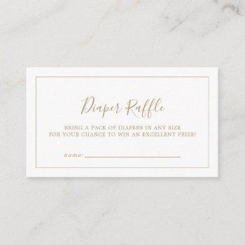 Minimalist Gold Baby Shower Diaper Raffle Enclosure Card