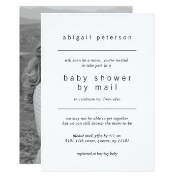 Minimalist Photo Baby Shower By Mail Invitation
