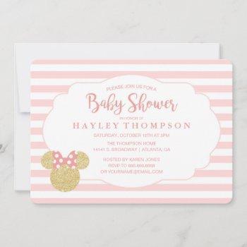 Minnie | Pink Striped Gold Glitter Baby Shower